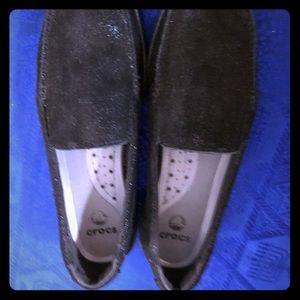 Crock black sparkle slip on shoes